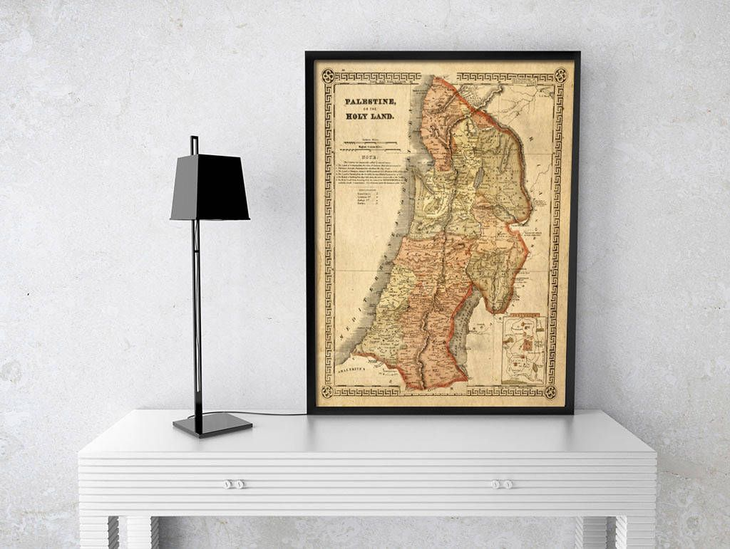 Holy Land map 1865 Map of Palestine Biblical Regions Antique ...
