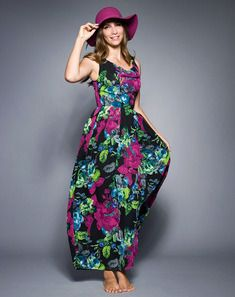 Copious Sleeveless Floral Print Gown with Cowl Neckline- awesome in the fall or spring!