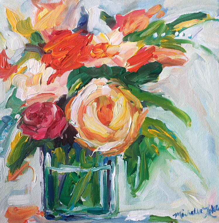 Fresh Flowers Handpainted floral art. Free Shipping
