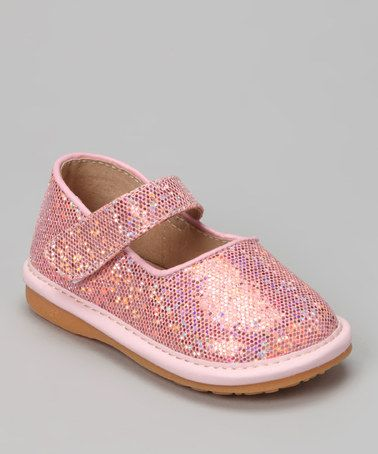 Pink Sparkle Squeaker Mary Jane by Doodlebugs Boutique -- I'm tempted to buy these just to look at!