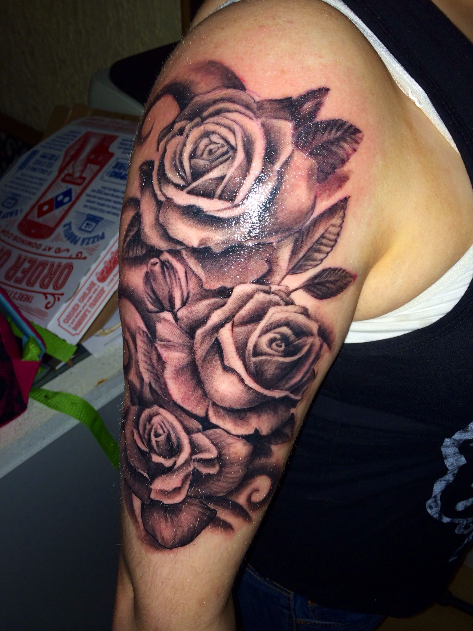Just got this the last night percent idea for rose for Rose sleeve tattoos