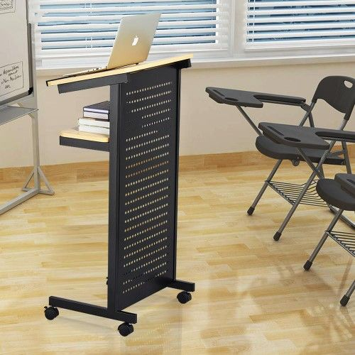 Yaheetech Mobile Lectern Podium Rolling Standing Up Desk For Reading Laptop Stand W Tilted Top Board Edge Stopper Interior Lectern Desk