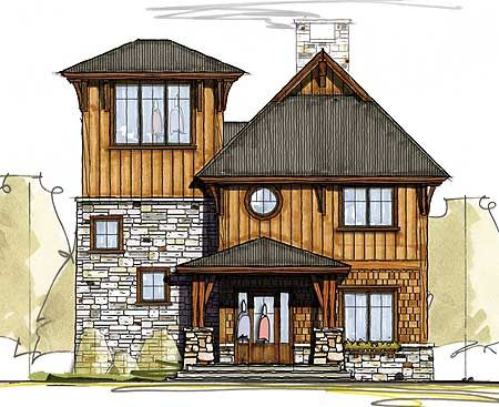 Plan 18769ck cottage with third floor viewing room for Tower home plans