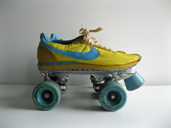 Late 1970 s Early 1980 s Women s Yellow and Blue Nike Athletic Sneaker  Roller Skates Size 7 b72d0317cab
