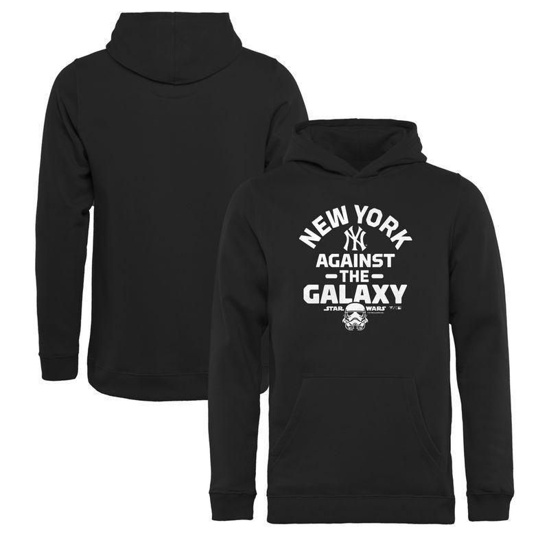 #Fanatics.com - #Fanatics Branded New York Yankees Fanatics Branded Youth MLB Star Wars Against The Galaxy Pullover Hoodie – Black - AdoreWe.com