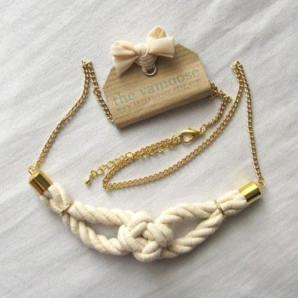 sailor knot necklace in natural and gold