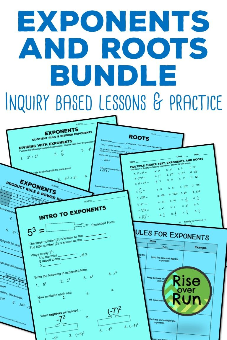 hight resolution of Exponents and Roots Unit Bundle for 8th Grade Math   8th grade math