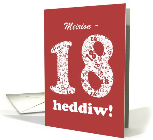 Cool Welsh Greeting 18th Birthday Card To Personalize White On Red