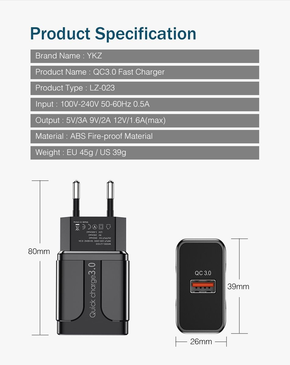 Ykz Quick Charge 3 0 18w Qc 3 0 4 0 Fast Charger Usb Portable Charging Mobile Phone Charger Phone Charger Samsung Phone Cellular Phone