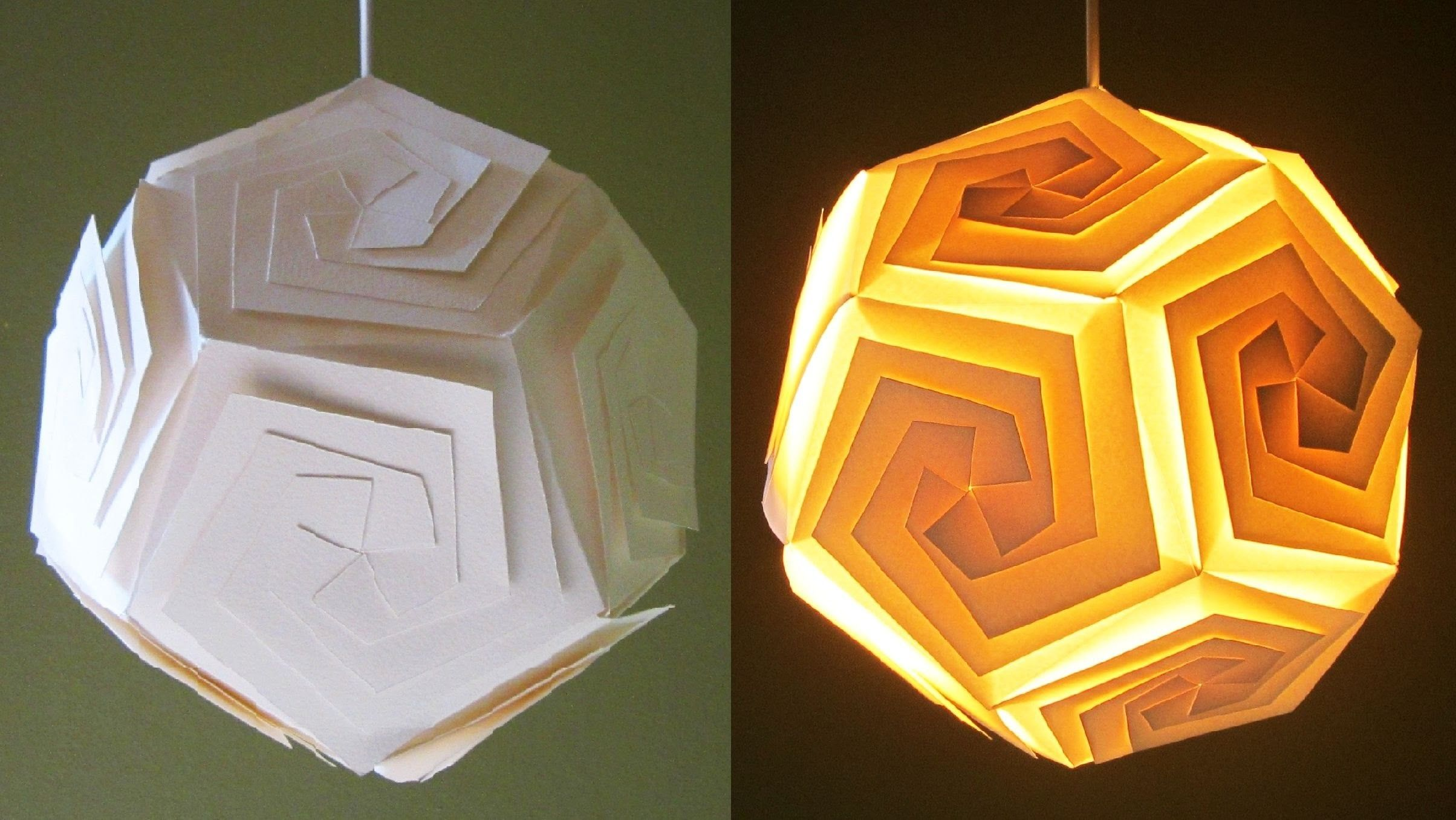 DIY lampshade (dodecahedron) - learn how to make a paper lamp ...