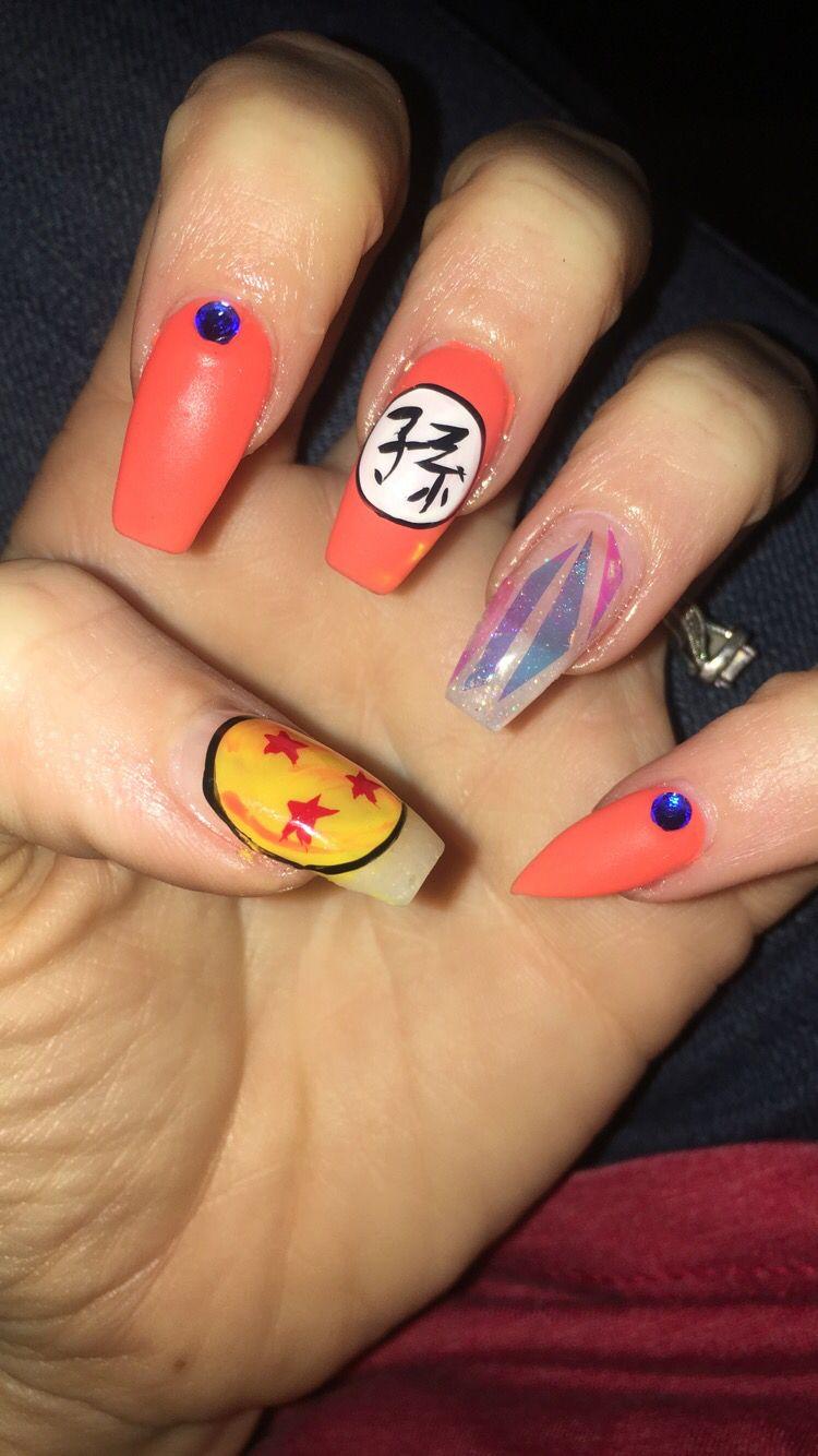 Dragon Ball Z Nails Gem Nails Funky Nails