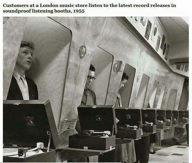 1955 Londra cabine per ascoltare i dischi