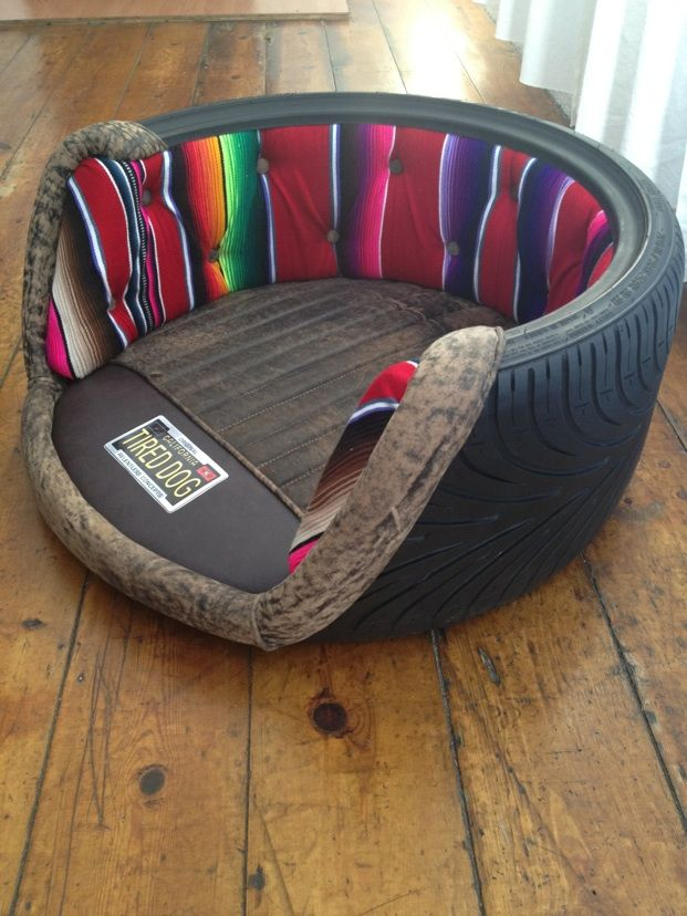 awesome custom dog bed made from reclaimed tires so they