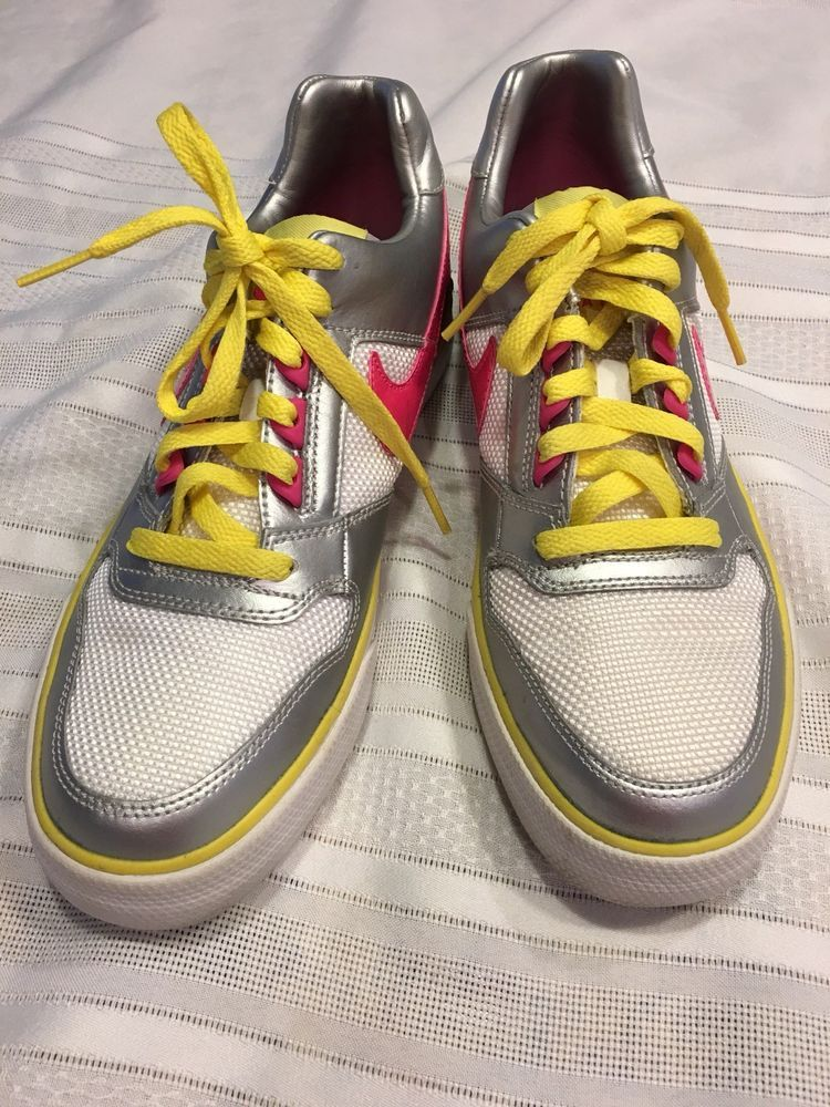 08c31149caa Ladies Nike Delta Force Tennis shoes Sz 9 White silver Pink and Yellow.