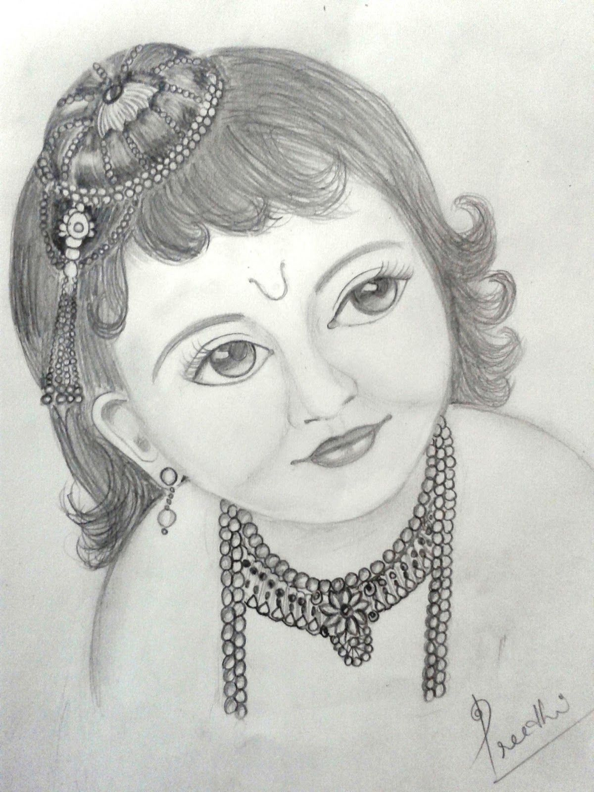 Preethi venugopala a pencil sketch of little krishna
