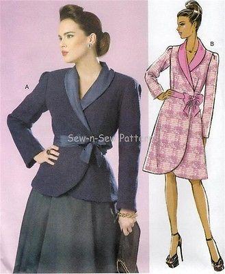 Butterick B6105 UNCUT PATTERN 14-22 Vintage Retro Belted Wrap Coat Jacket Gertie