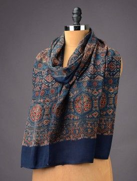 Royal Blue - Red Abstract Silk Stole