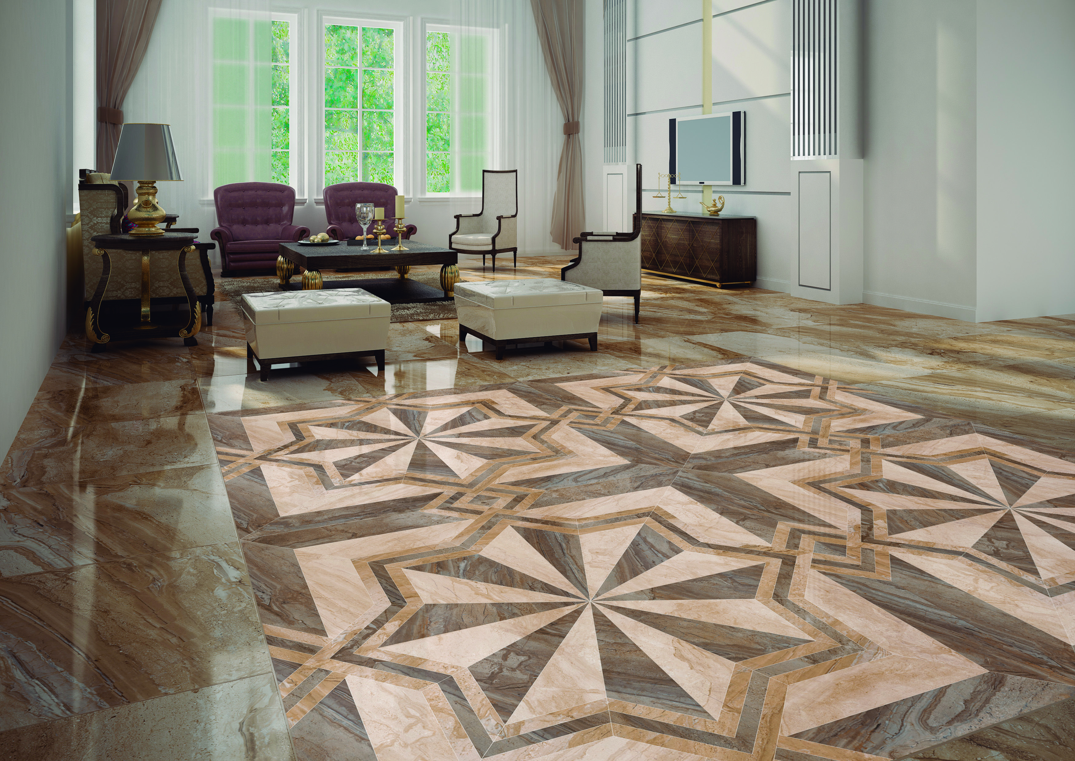 Umbria Multicolour Patterned Marble Effect Floor Tile Floor