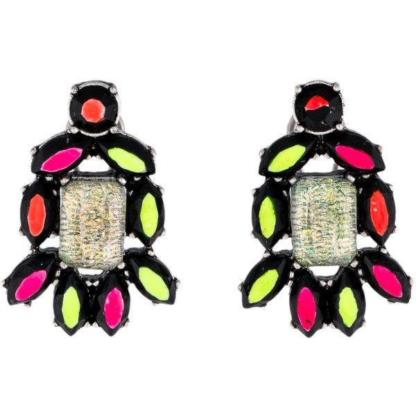 Pre-owned Lulu Frost Hand-Painted Neon Earrings ($85) ❤ liked on Polyvore featuring jewelry, earrings, pre owned jewelry, black earrings, silver tone earrings, neon earrings and rectangle earrings