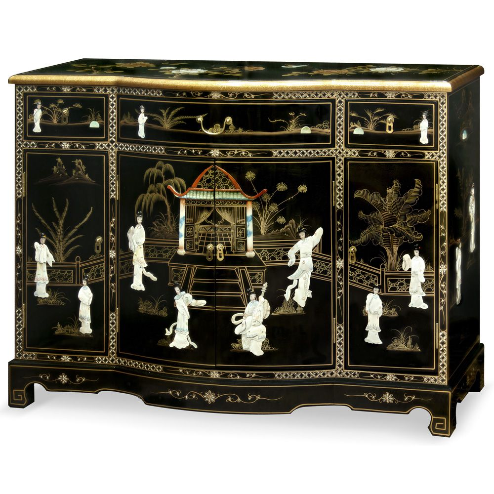 Black Lacquer Mother Of Pearl Console