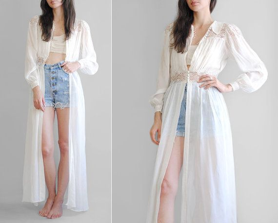 Sheer Ivory Duster // 40's Silk Chiffon Dressing Gown