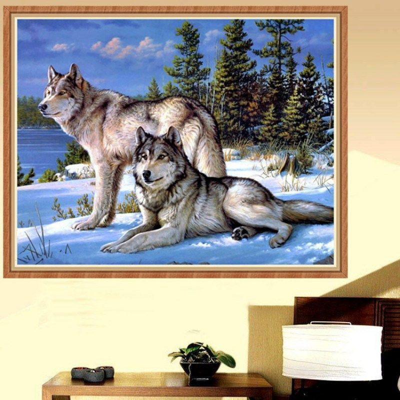 Night Cross Decor Diamond Drill Painting 5D DIY Xmas Full Stitch Wolf Embroidery