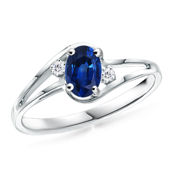 Angara Oval Sapphire and Round Diamond Split Shank Ring in White Gold 8njtAm