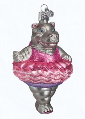 TWINKLE TOES HIPPOPOTAMUS HIPPO OLD WORLD CHRISTMAS BALLERINA ORNAMENT NWT 12125