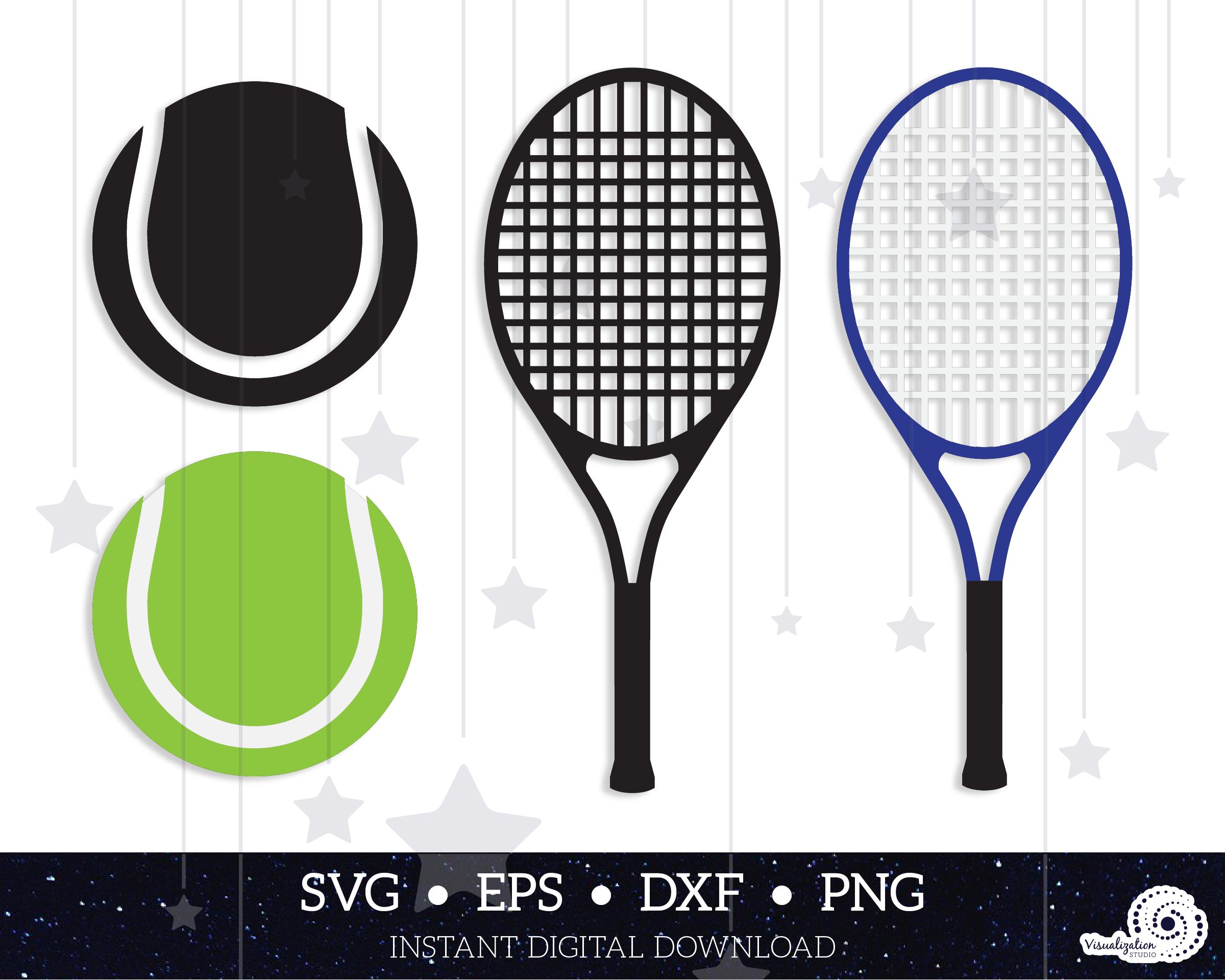 Tennis Ball Racket Silhouette Instant Digital Download Etsy Digital Download Etsy Tennis Ball Dxf