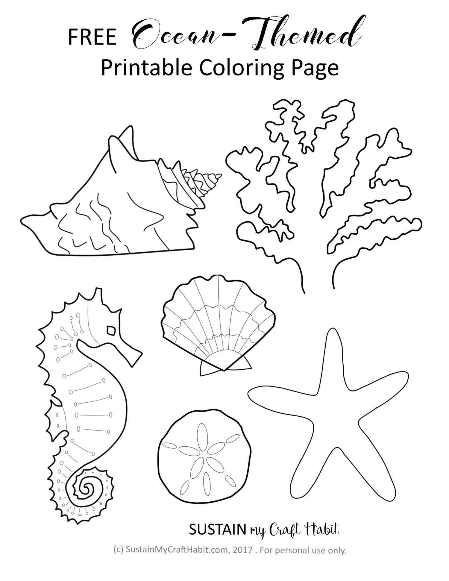 Free Ocean-Themed Coloring Page Printable! — Sustain My