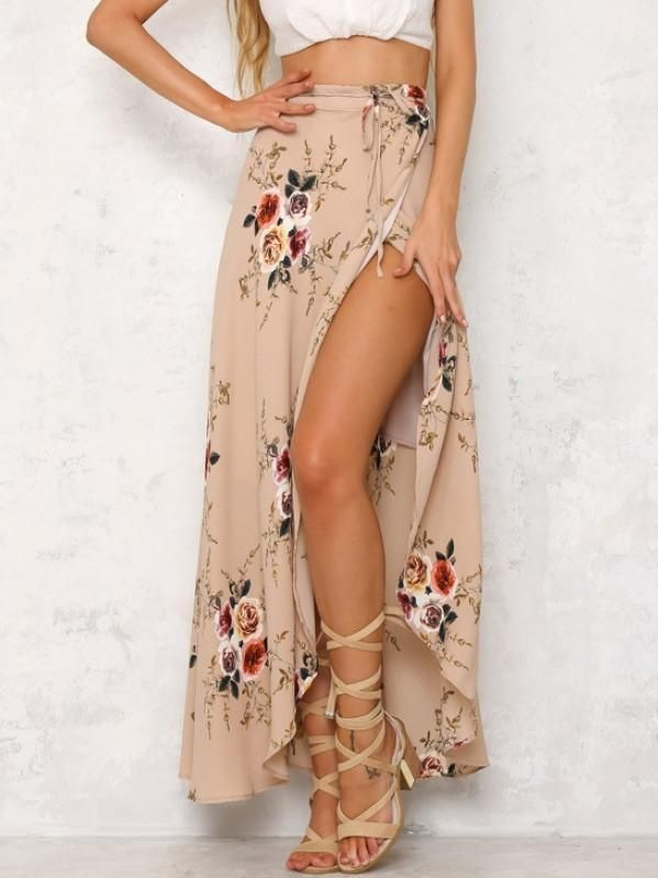 274f4c86983 Sexy Floral Front Split With Tie Bohemia Long Skirt Bottoms | My ...