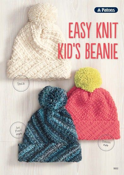 Knitting Pattern For Baby Beanie 8 Ply : Patons Easy Knit Kids Beanie - Inca, Totem 8 ply or Jet Pixel 12 ply W...