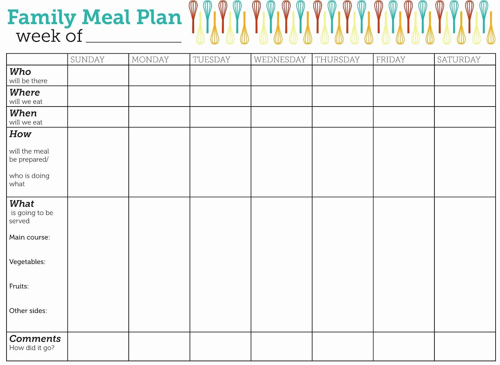 30 Blank Meal Plan Template in 2020 Family meal planning