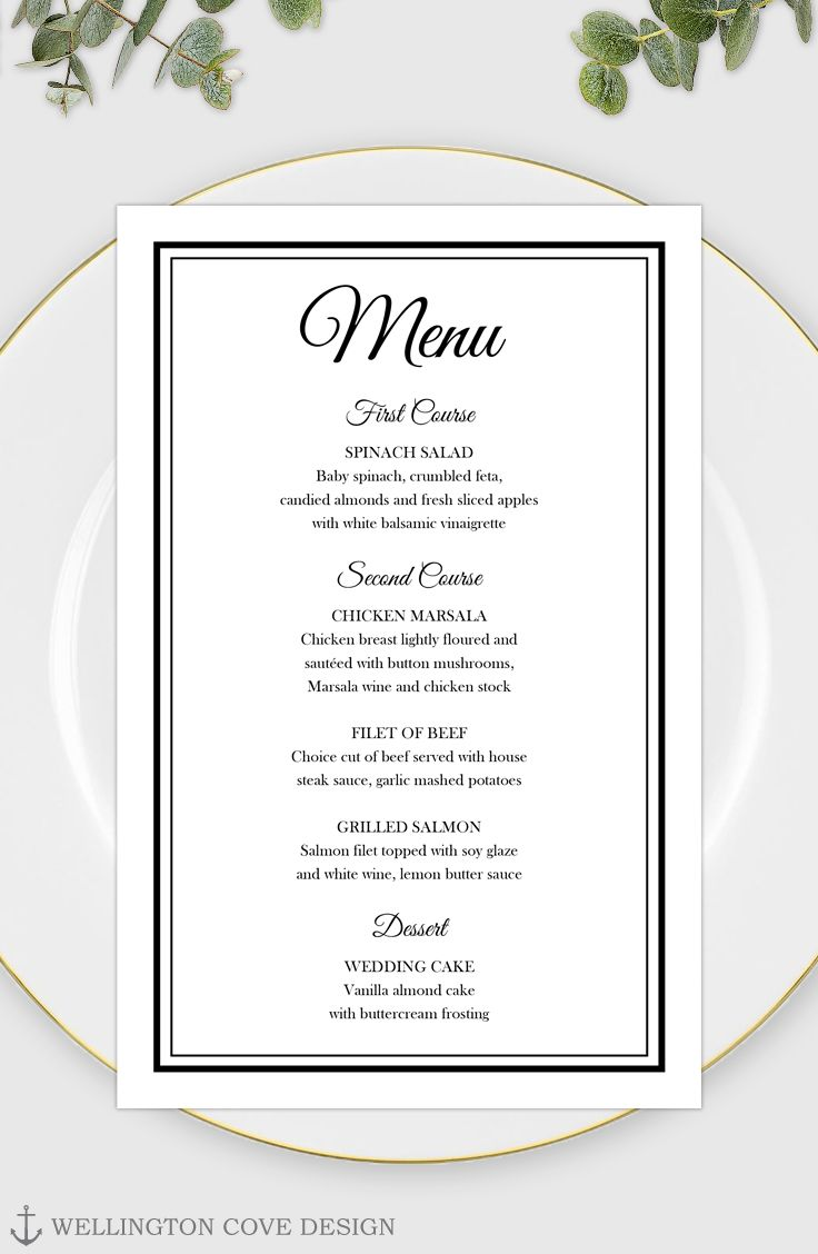 Printable Wedding Menu Template For Microsoft Word Elegant Etsy Printable Wedding Menu Wedding Menu Template Menu Card Template