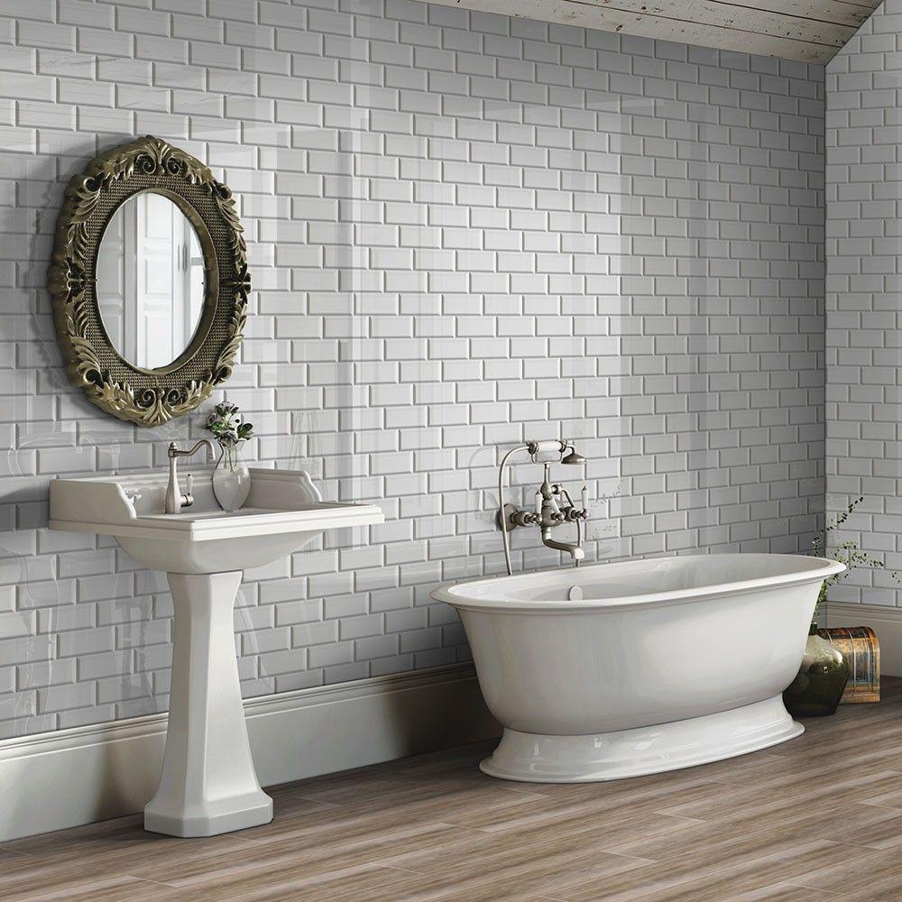 Bevelled Brick Light Grey Gloss Wall Tiles Retro Metro Tiles ...