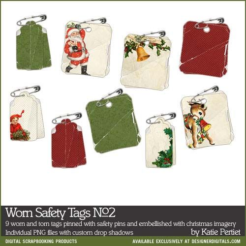 Worn Safety Tags No. 02 - Digital Scrapbooking Elements DesignerDigitals
