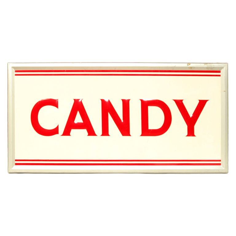 1940s Vintage Candy Sign | Candy & Gum | Candy signs