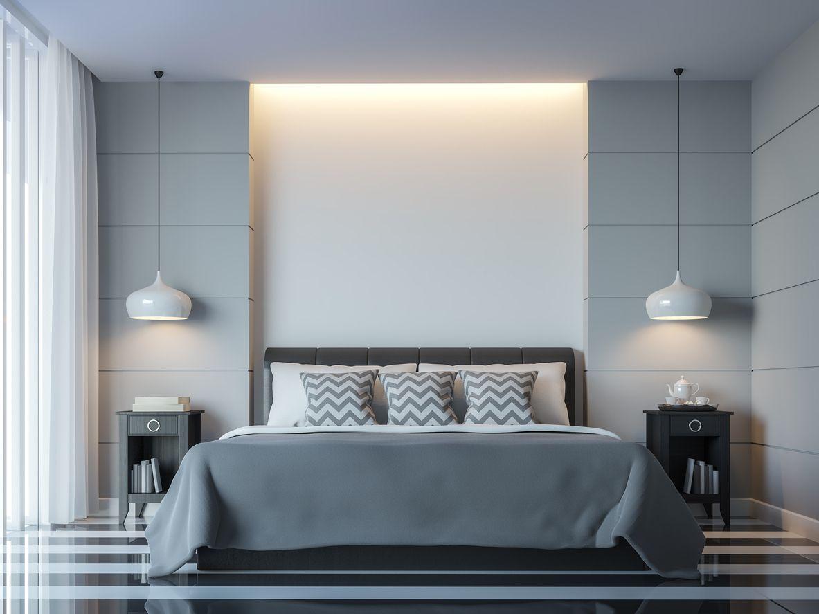 Moderne witte slaapkamer minimale stijl er witte lege muur