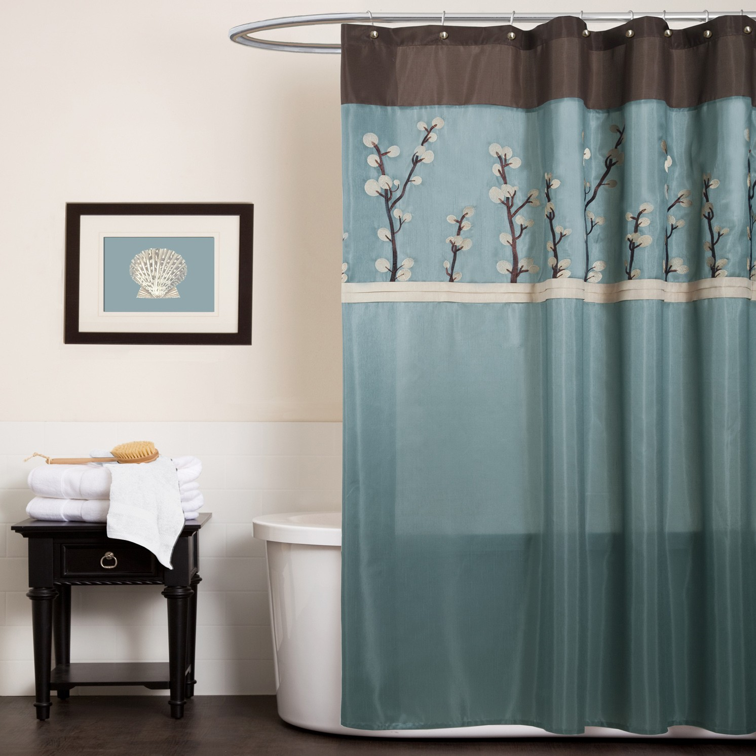 Blue And Yellow Brown Curtains Shower