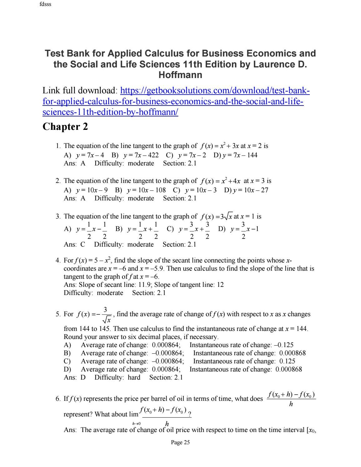 Test bank applied calculus business economics the social life test bank applied calculus business economics the social life sciences 11th edition hoffmann fandeluxe Image collections