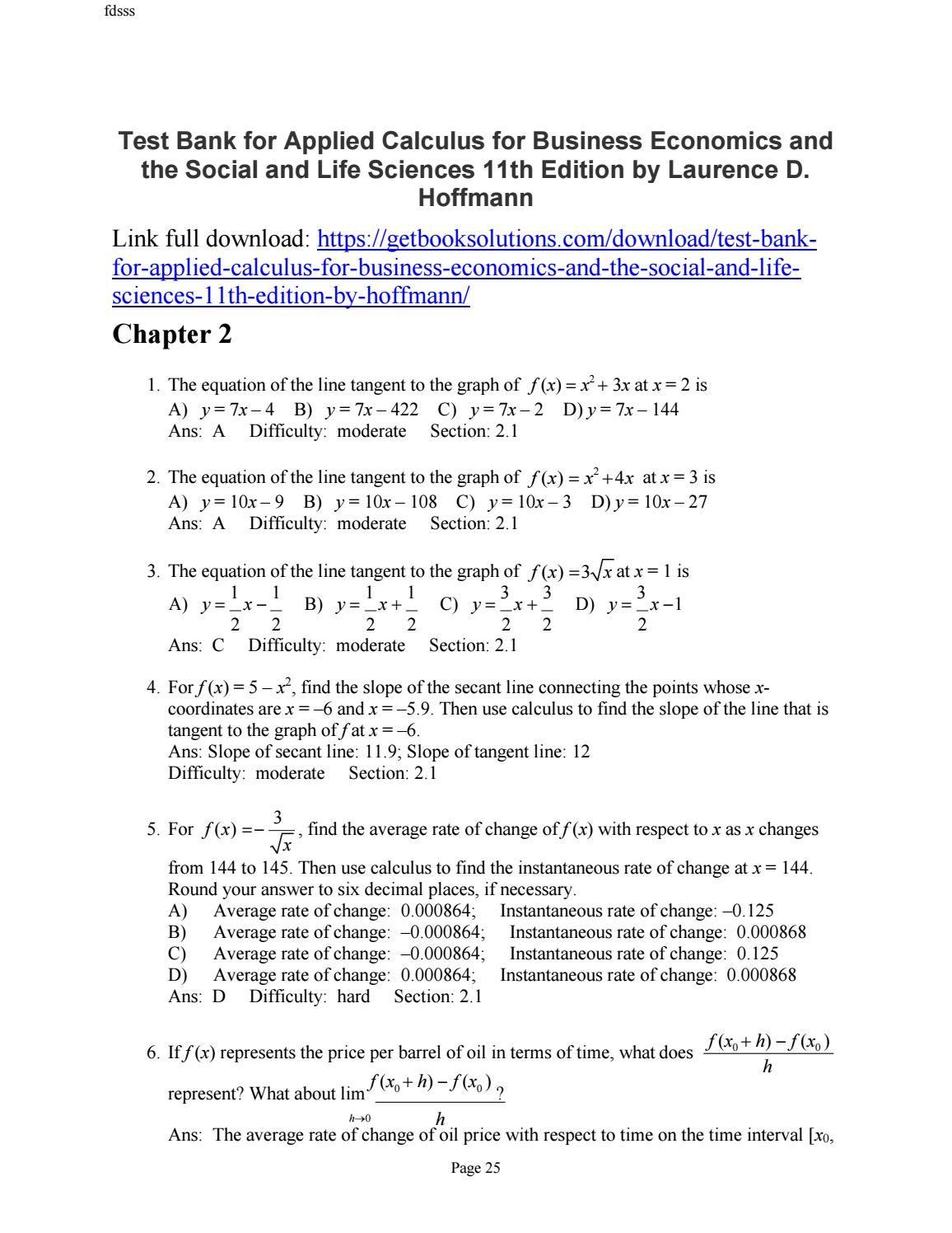 WRG-5047] Applied Calculus Hoffman Bradley Solution Manual