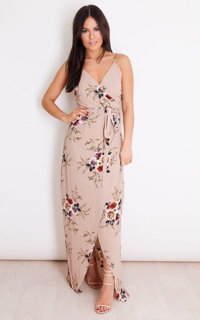 1e5b2b59297 Mia Floral Wrap Maxi Beige By Girl In Mind