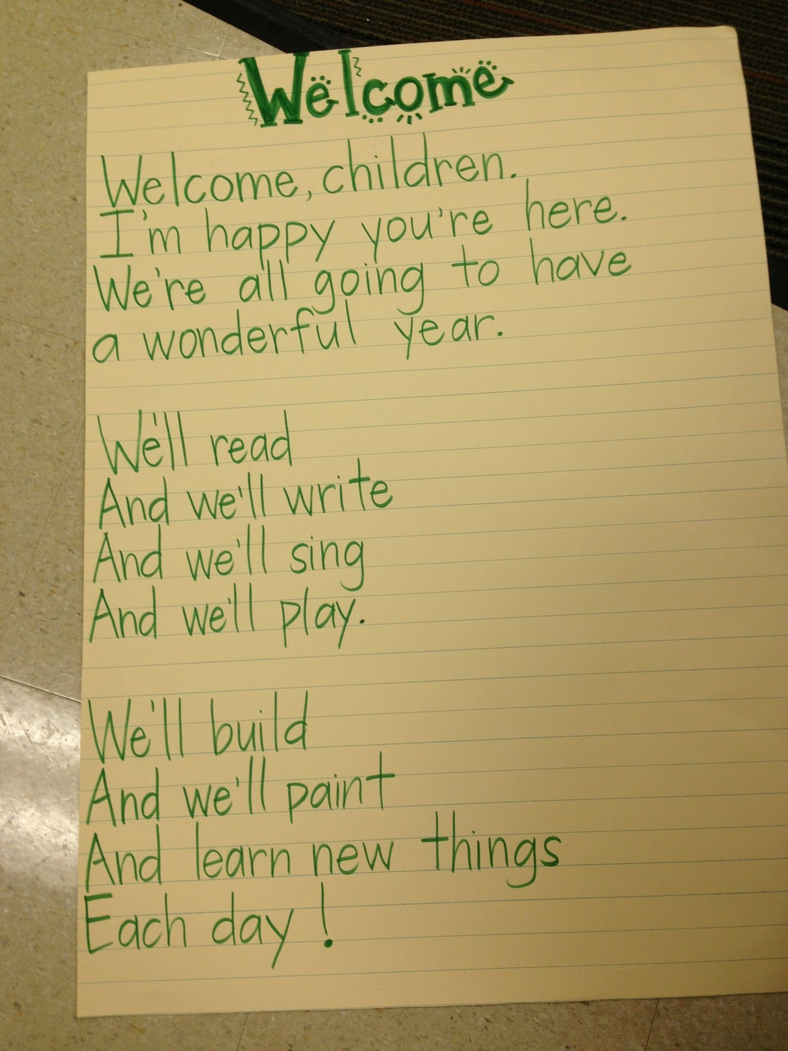 Welcome Poem First Day Of School