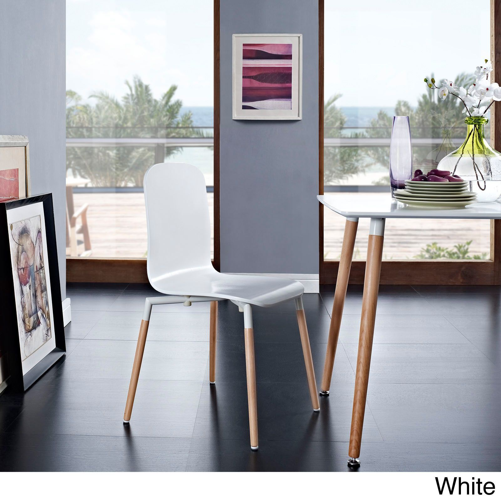 Modway Stackable Steel top and Wood Dining Chair Black Black