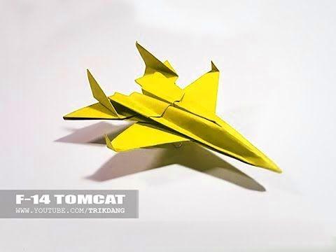 papierflieger selbst basteln papierflugzeug falten beste origami flugzeug f 14 tom kakt. Black Bedroom Furniture Sets. Home Design Ideas