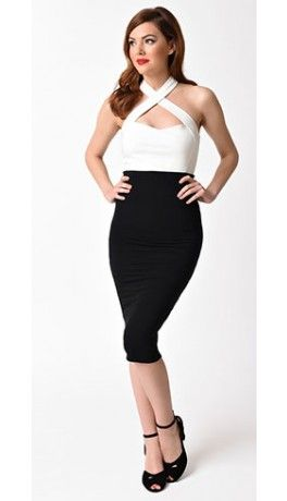 01ff0d450 Unique Vintage 1950s Black High Waist Katharine Knit Wiggle Skirt ...