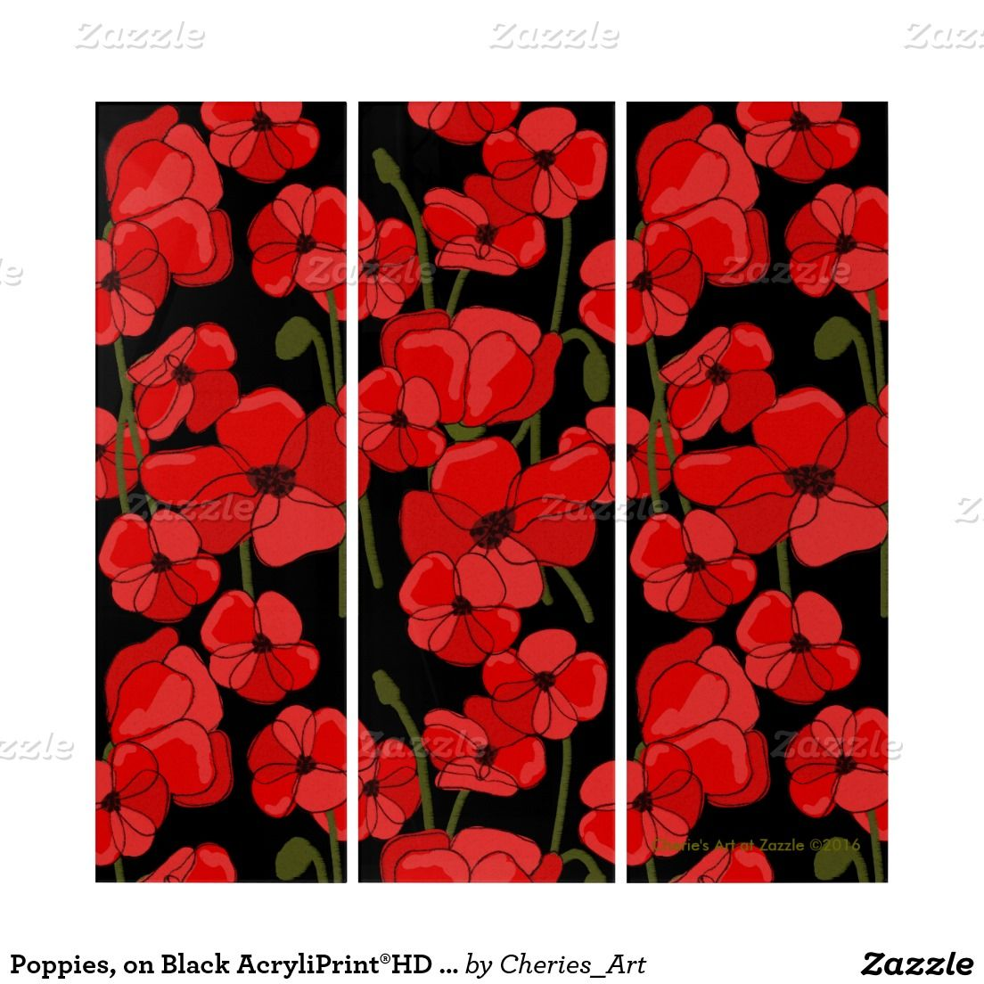 Poppies, on Black AcryliPrint®HD Triptych Wall Art #poppies #largeart #homedecor #acrylicpanelsart #triptychs #forthehome