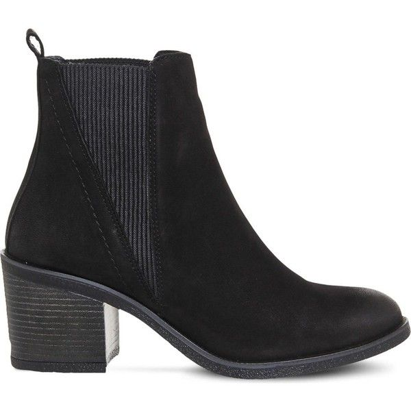 Office Lasoo leather chelsea boots ($84) ❤ liked on Polyvore featuring shoes, boots, ankle booties, block heel boots, leather shoes, round toe boots, chelsea ankle boots and leather boots