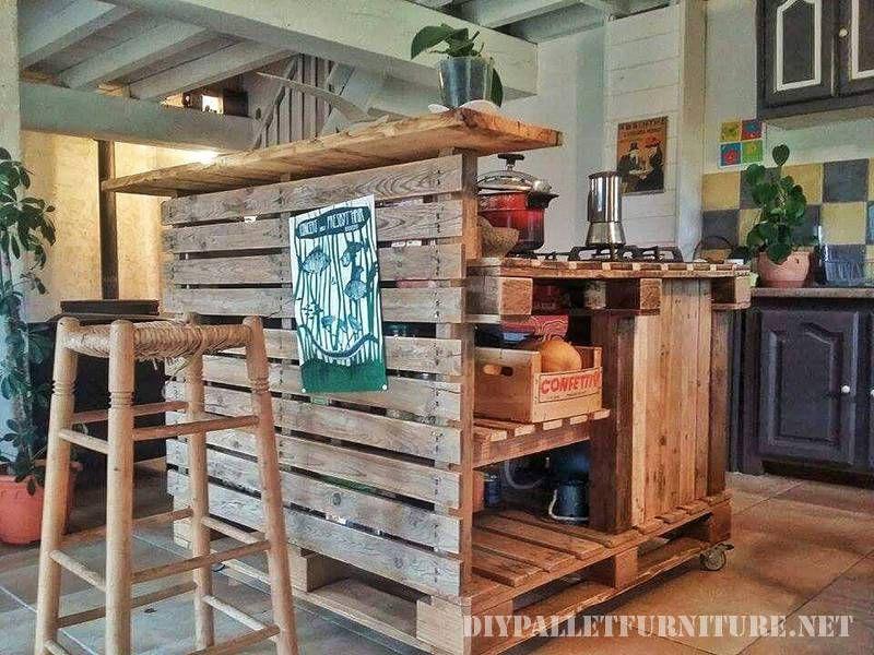 Kücheninsel mit Paletten 2   Rustikales,rund ums Haus...   Pinterest ...