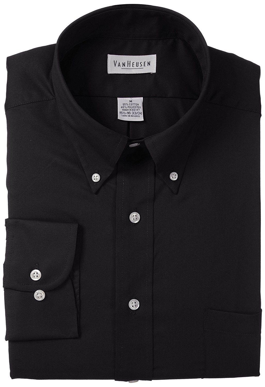 Mens Dress Shirts Regular Fit Twill Solid Button Down Collar Black